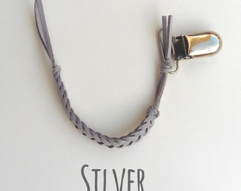 Silver Braided Leather Pacifier Clips