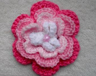 Hand crochet pink hair clips
