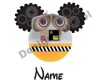Wall-e Ears customized with name of your choice available as file to print on iron on transfer paper