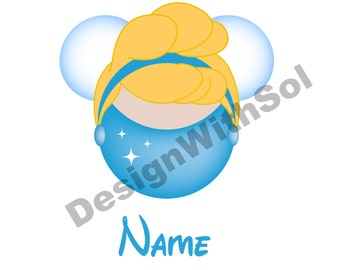 Cinderella Ears customized with name of your choice available as file to print on iron on transfer paper