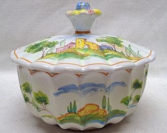 "Decorative Hand Painted Jar w. Nice Landscape Designs (ITALY) 6"" Diam. ANTIQUE"