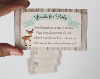 Woodland Book Request, Books for Baby Cards, Baby Shower cards HM111