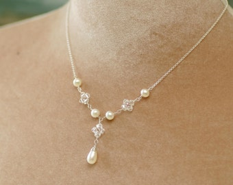 Pearl bridal necklace crystal necklace, freshwater pearl bridal jewelry pearl drop necklace, delicate bridal necklace - Flora