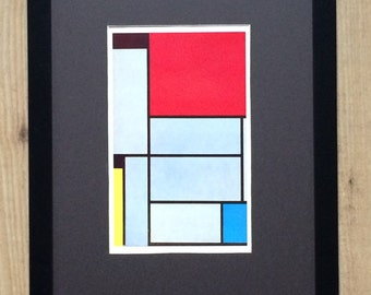 "Framed and Mounted Tableau I  Print by Piet Mondrian 16"" x 12"""