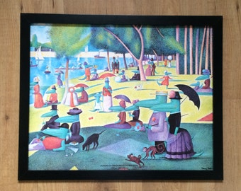"""Framed and Mounted Sunday in the Park with Maurice Print by Tracey Sabin  - 20"""" x 16"""" - vintage print"""