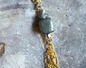 Pyrite nugget gold tassel necklace