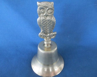 Vintage Solid Brass Owl Handle Dinner Bell  Vintage Brass Home Decor Figurine Woodland Brass Accents Animals
