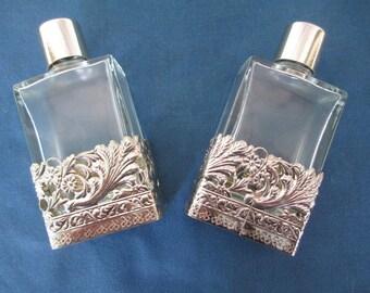 Vintage Brass Gold Filigree Ornate Perfume Bottles Vintage Vanity Dresser Collectible Glass Home Decor