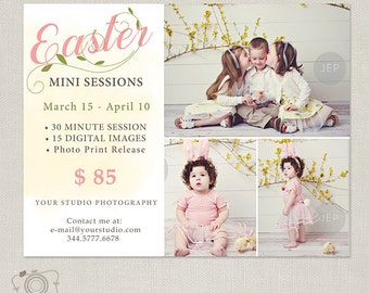 Spring Easter Mini Session Template - Marketing Board for Photographers - Flyer -092 - C301, INSTANT DOWNLOAD