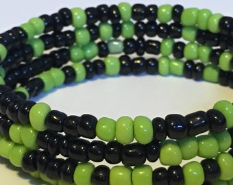 Green/black beaded wrap bracelet