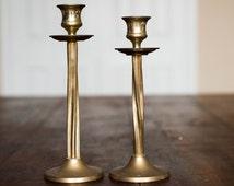 Vintage Brass Candlestick Pair Candle Holders Sticks Gold Golden Hollywood Regency Antique Home Decor Decoration Set 2 Two Twisted Unique