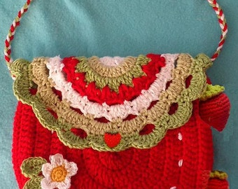 Crochet Strawberry Purse