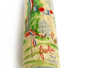 c1940s Frolic Perfumed Talc by Cheramy New York, 4-ounce Cardboard Shaker Top Container, Nearly Full
