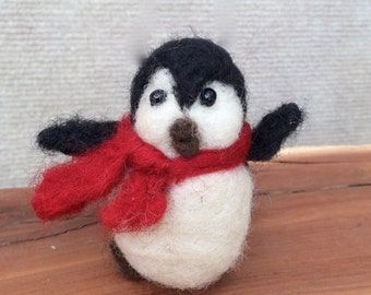 Winter Needlefelted Penguin with scarf