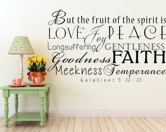 Fruit Of The Spirit Vinyl Wall Decal, Galatians 5:22-23, The Fruit Of The Spirit Wall Decals, KJV, Fruit, Wall Decal