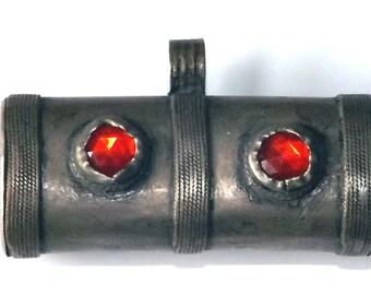 Unusual Chunky Vintage Kuchi Tribal Gypsy Prayer Tube Pendant with Red Jewels ETKP76