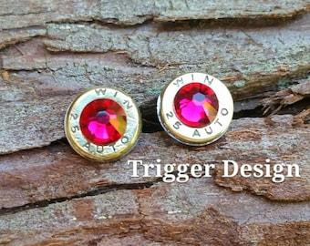25 Caliber Bullet Casing Post Earrings- Dark Pink