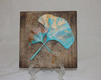 Forged Copper Autumn Ginkgo Leaves Plaque II