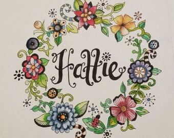 Watercolor Name Wreath - 8x10