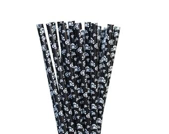 Black Skull Paper Straws-Pirate Straws-Halloween Straws-Skull Paper Straws-Black Party Straws-Birthday Party Straws-Ninja Paper Straws
