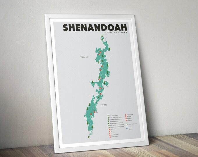 Shenandoah National Park Map, Shenandoah, Outdoors print, Explorer Wall Print