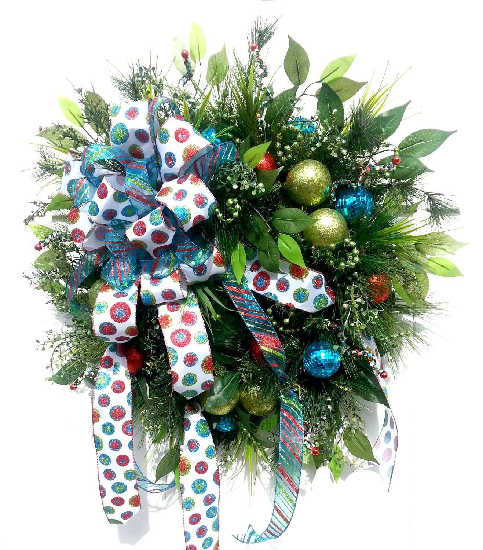 Evergreen wreath christmas front door wreaths christmas door for Front door xmas wreaths