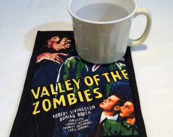 Horror Movie Mug Rug, Horror Movie Trivet, Vintage Movie Coaster, Valley of the Zombies, Quiltsy Handmade