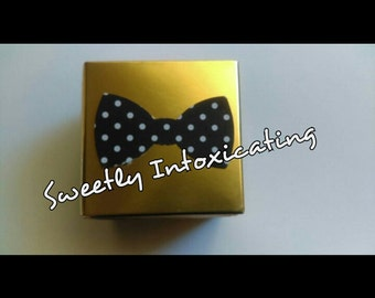 12CT  Mr. Onederful gold favor boxes with polka dot bow tie. Mr. Onderful theme. Bow tie, Little Man and mustache theme