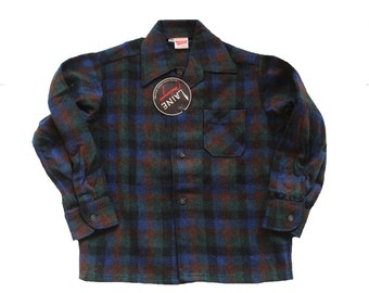 FRENCH VINTAGE 60's / boy shirt / overshirt / plaid wool blend / new old stock / size 5/6 years