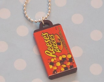 Reeces Pieces Sweet Bag Pendant On Ball Chain Necklace