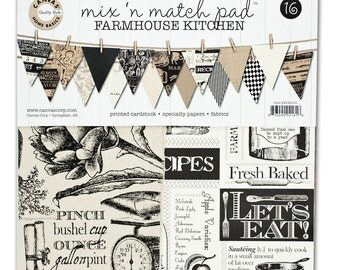 Canvas Corp Mix & Match Pad, Farmhouse Kitchen Collection, 12X12 Scrapbooking and Paper Crafting