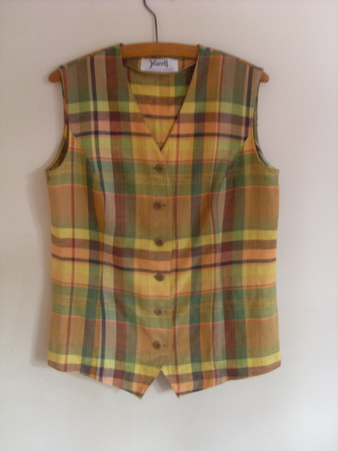 plaid waistcoat plaid vest check waistcoat yellow green. Black Bedroom Furniture Sets. Home Design Ideas