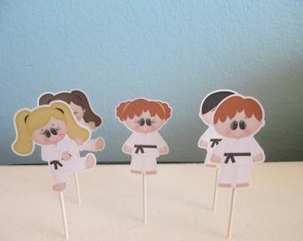 Karate Cupcake Toppers(12)Karate Party Cupcake Toppers,Karate topper,Karate Boy,Karate Girl,Martial Arts Cupcake Toppers,