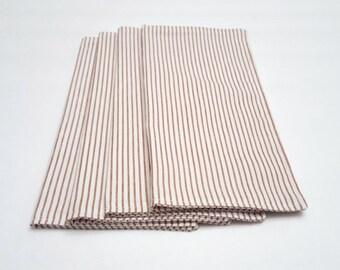 Custom order / Brown and White Cloth Napkins / 9 inch Cloth Napkins