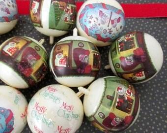 Vintage Plastic Sleeve Ornaments  (Set of 11) - Vinyl Sleeve Kitsch Christmas, Retro Ornaments - Holiday Mice  Tree Decor