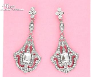 Bridal earrings vintage style art deco wedding jewelry Swarovski crystal chandelier earrings art deco wedding earrings style 1293