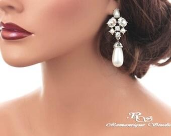 Wedding earrings pearl drop earrings pearl crystal earrings vintage style bridal earrings bridesmaid earrings wedding jewelry 1334