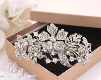 Wedding hair barrette rhinestone hairpiece crystal hair comb bridal hair accessory bridesmaid gift  5175