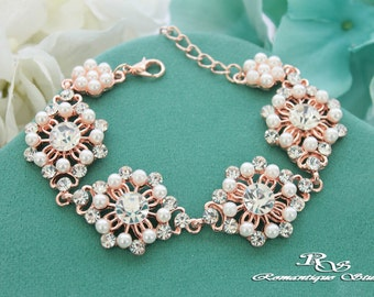 ROSE GOLD wedding bracelet Pearl bridal bracelet Crystal bracelet Wedding pearl bracelet Bridesmaid bracelet Pearl bridal jewelry B0161RG