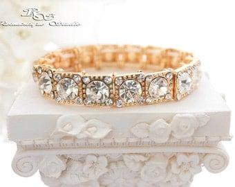 Bridal jewelry Gold wedding bracelet wedding jewelry bridesmaid bracelet bridal bracelet gold crystal bracelet rhinestone bracelet B0162G