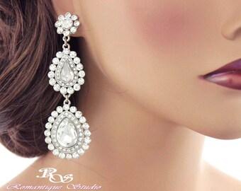 Bridal Earrings, Long crystal earrings, Wedding jewelry vintage, Long drop earrings, Wedding earrings, Bridal jewelry accessories 1288