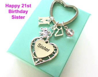 Personalised 21st gift for Sister - 21st birthday sister keyring - Elephant keyring - Sister birthday - 21st keyring - Sister gift - UK