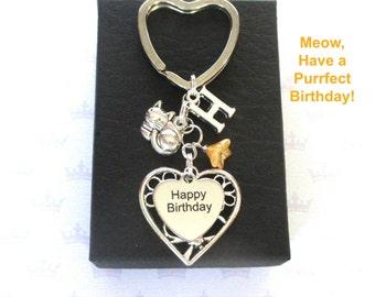 Cute cat keychain - Happy Birthday keyring - Gift for cat lover - Birthday gift - Cute kitty keychain - Personalised cat keyring - UK seller