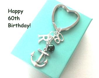 60th birthday gift - Anchor keychain - Personalised 60th keyring - 60th birthday - Anchor keyring with pearl - Initial keyring - UK seller