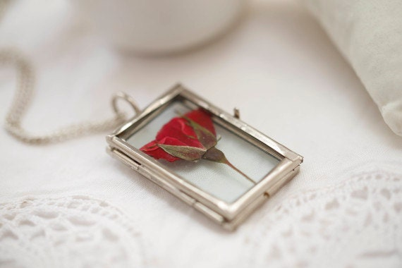 Red Rose locket Necklace - real flower pendant - glass botanical jewelry, flower necklace, romantic gift, symbol of love