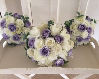 Brides bouquet vintage ivory rose peonies soft lilac roses with pearl details & greenery