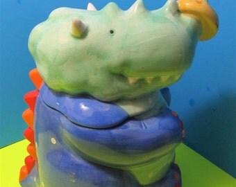Ceramic Cookie Jar Rhino Rhinosaurus Dinoausur Dino Dragon Coco Dowley
