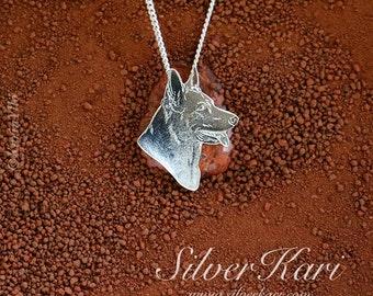 German Shepherd, necklace in sterling silver