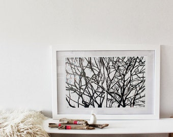 Winter Branches - wood block print