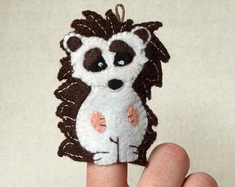 Felt Hedgehog Finger Puppet, Wool Felt Hedgehog Ornament, Felt Handmade Collectible Finger Puppet, Christmas Ornament *Ready to Ship